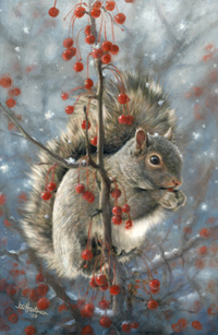 Winter squirrel painting